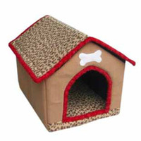 Wholesale 3 Size Pet Supplies Dog cat Nest Leopard Bones House Carpet Cloth