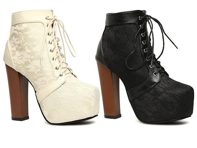 Fashion Style Platforms Lace Up Ankle Boots Chunky Heels Womens ...