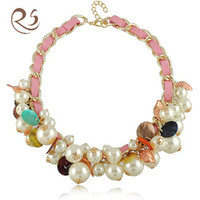 Wholesale N1445 mix colours leather and pearl jewelry lady s chain fashion costume necklace
