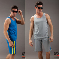 Wholesale Authentic Men s Sports Suits Household Fitness vest shorts Mesh fabric Tracksuits Omni Dry Quick