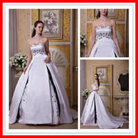 Wholesale 2010 Hot Sale Beauty Applique Embroidery Sleeveless Strapless Wedding Dresses Wedding Gown MA