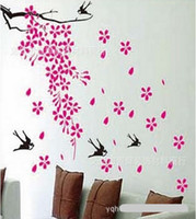 Wholesale Glass flower falls wall stickers DIY Decoration Fashion wall sticker