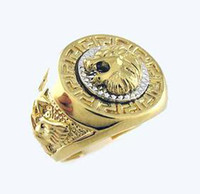 Wholesale Provide tracking Lion head Eagle K GP Yellow Gold men s Ring most popular