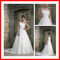 2012 lastest Gorgeous designer A- line One- shoulder Feath Rea...