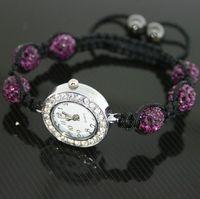 Wholesale CZ Crystal Bracelets Watch Wristwatch mm Disco Pave Ball Beads Strand Wrist Band Watch Girl Gift