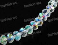 Wholesale MIC White Faceted Crystal Rondelle Beads AB MM