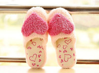 Wholesale Cute gril s fleece slippers indoor babouche Heart shaped plush shoes thicken warm slippers