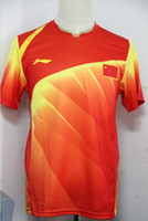 Wholesale Li Ning Man s London Olympic Games Chinese national flag T Shirt chinese badminton