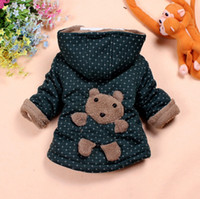 Wholesale boy s outerwear Winter baby jacket with hat velvet Thicken back cartoon bear girl s outerwear l