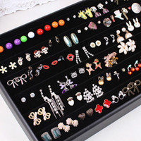 Wholesale Earring Displays Tray with cover Black velvet wooden leather Jewelry holder cheap showcase case