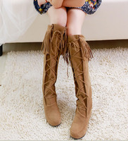 Wholesale The new fringed boots matte leather lace flat high boots women boots