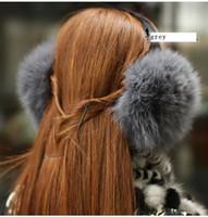 Wholesale Warm fur earcap ear bag ear warm large fox wool earcap fox wool ear cover grey