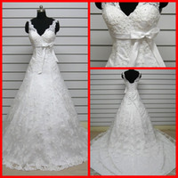 Wholesale hot sale Fashion Simple lace and Satin V Neck Beautiful A Line wedding dress Bridal Gown