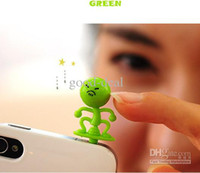 Wholesale Brand new Cute expression Dustproof Ear Cap Anti Dust Plug Stopper for mm Jack for I9300 Iphone