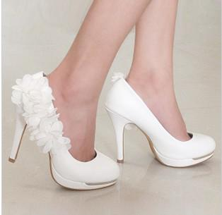 New Arrival Lace PU Wedding Shoes High Heels Bridal Shoes Cheap And Confortable Woman Dress