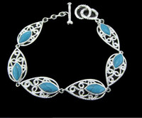 Wholesale Bohemian style jewelry high quality sterling silver plated blue turquoise gemstone bracelet