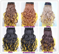 Wholesale 6 Colors U pick New Womens Long Wavy Curly Onepiece Clip in Hair Extensions