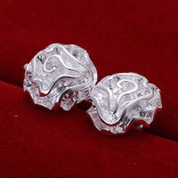 Wholesale Sterling Silver Rose Ball Flower Bead Shape Stud Earrings ER103