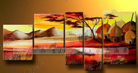More Panel abstract house paintings - 100 hand draw abstract modern oil painting on canvas house mountain sunset landscape