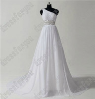A-Line Reference Images One-Shoulder Glamourous sexy a-line white chiffon bead floor length one-shoulder train wedding dress wedding gown