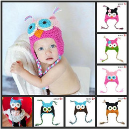 Wholesale New hot Handmade Knitted Crochet Baby Hat owl hat with ear flap