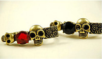 Wholesale Vintage Bronze Two Finger Rhinestone Skull Ring mix color Women s jewelry