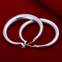 Wholesale Sterling Silver Round Circle Hoop Flat Satin Finish Drop Hoop Earrings ER120
