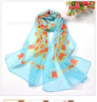 Wholesale chiffon scarves rose print scarf Spring and Autumn wild ladies stylish multicolor scarf
