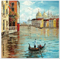 Wholesale 100 hand draw abstract modern oil painting on canvas Water in Venice