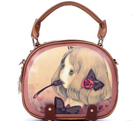 Wholesale 2012 Xmas Fashion Handbag Vintage Women Korean Cartoon Girl Leisure Cosmetic Bag Shoulder Bags