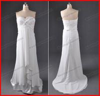 Wholesale Hotsale Ivory Sheath Sweetheart Court Train Chiffon Beaded Actual Image Summer Beach Wedding Dresses
