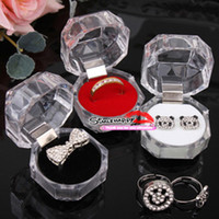 Wholesale Rings Box Jewelry clear Acrylic cheap Jewelry Boxes sale wedding gift box ring stud dust plug box