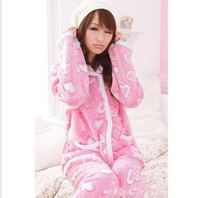 Wholesale women ladies sexy pajamas cotton and sleepwear nighty coral velvet plush lovely suit set night wear