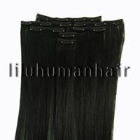 Wholesale 15 quot quot quot quot quot per set Indian Remy Clip In Human Hair Extensions jet black