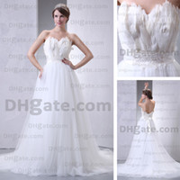 Actual Images wedding dress feather - White Feather Tulle Sweetheart Wedding Dresses A Line Court Train Beaded Sash Real Actual Images