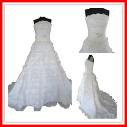 Wholesale Popular Morden A line Strapless Organza Layered Beaded Real Wedding Dresses Bridal Gown