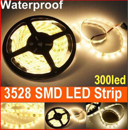 Hot Sales 300leds 5m SMD 3528 LED Strip Light warm White Waterproof led lighting for car Christmas free shipping 20m lot