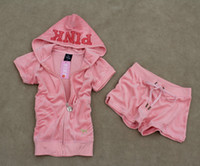 velour tracksuit - summer velour womens short casual sport suits tracksuits in pink PK10200pi