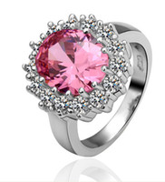 Women's Party Cluster Rings Pink Princess Ring Alloy Ring 18K White Gold CZ Ring colored optional Charms jewelry.10pcs lot