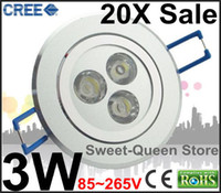 Wholesale 20X SALE High Power Dimmable Degree CREE LED Ceiling Lamp W V Down Light Lm Bulb