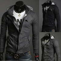 Wholesale Casual Male Jackets - 2016 Fashion Men Jackets Christmas Outerwear Stylish Slim Fit Hoodie Jacket Cotton Blend Male Top 4 Sizes Black Grey