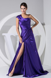 Wholesale US2 A line Ruffles One shoulder Ruffles Satin Evening Dresses Formal Gown