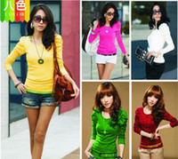 Wholesale Christmas Women s Lady Puff Long Sleeve OL Style Slim Shirt T Shirt Top Blouse Colors