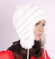 Wholesale 6 Color Real Rex Rabbit Fur Hat Woman Winter Cap Wind Hat Warm Caps