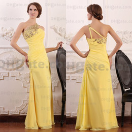 Best Selling!! 2018 A-line Elegant Beaded Full Length Yellow Chiffon Evening Prom Dresses Designer Occasion Dresses PD042