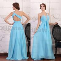 Wholesale New Arrival Blue Chiffon One shoulder Crystal Evening Prom Dresses Designer Occasion Dresses PD044