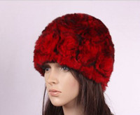 Wholesale Rose Pattern Rex Rabbit Fur Woman Winter Hats Lady warm caps Grey Red Coffe colors hat