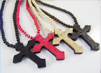 Wholesale Hip Hop good quality wood necklace cross Pendant wooden necklace More Cheaper