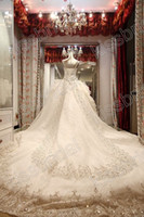 Wholesale New Arrival Long Train Ball Gown Beaded Appliques Spaghetti Straps Lace Up Wedding Dresses SSJ Winter