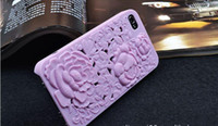 Wholesale 3D Relief Sculpture Rose Silicone Case silicone cover case for iphone4s